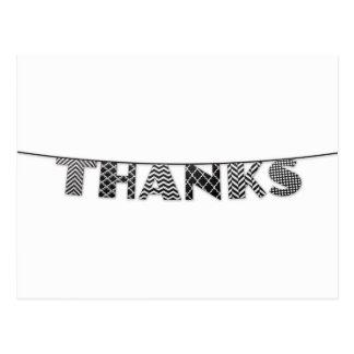 Gracias en el golpe ligero modelado blanco y negro tarjeta postal