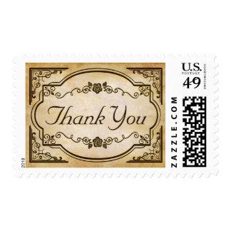 Gracias en el papel viejo antiguo - boda del estampillas