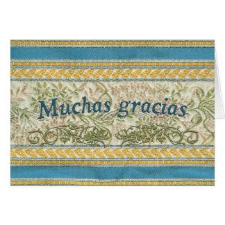 Gracias en español, Muchas Gracias Tarjeta De Felicitación