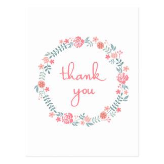gracias en guirnalda floral del laurel postales
