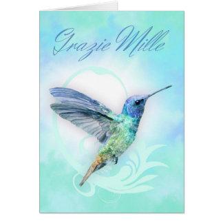 Gracias en italiano - tarjeta de Humminbird de la