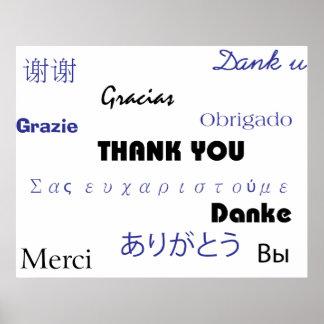 Gracias (en negro y blue002) imprimir póster