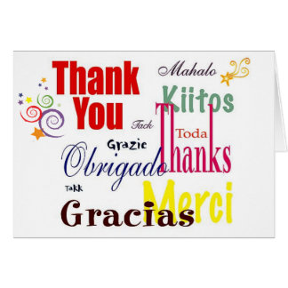 Gracias en tarjeta de nota de muchas idiomas