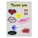 Gracias en varios idiomas tarjeta