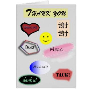 Gracias en varios idiomas tarjeta pequeña