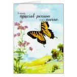 Gracias enfermera, mariposa y flores tarjetas