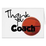 Gracias entrenar, baloncesto tarjeton