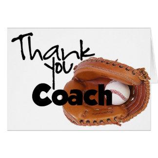 Gracias entrenar, béisbol tarjeta de felicitación