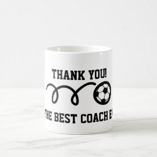 Gracias entrenar la taza de café del balón de fútb