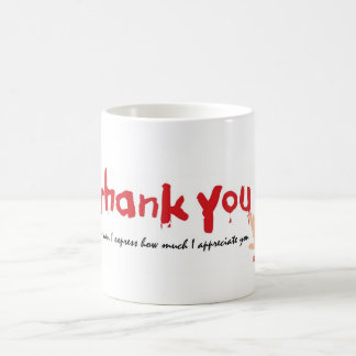 Gracias escrito en sangre taza básica blanca