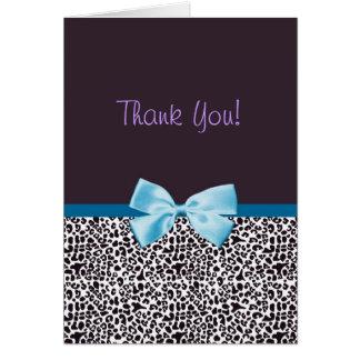 Gracias estampado leopardo de moda y Blue Ribbon Tarjeta Pequeña