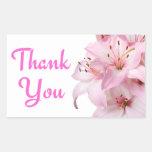 Gracias etiqueta floral del pegatina del saludo