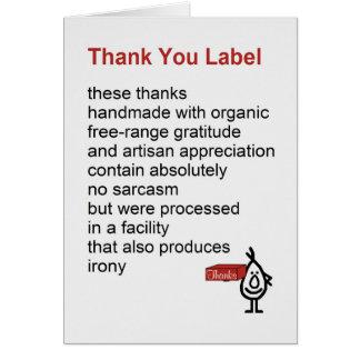 Gracias etiquetar - un divertido le agradece poema tarjeta de felicitación