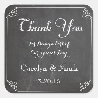 Gracias, etiquetas del favor del boda del vintage calcomanía cuadradas