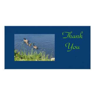 Gracias familia de los gansos tarjeta personal con foto