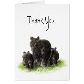 Gracias, familia del oso negro de la acuarela, ani tarjeton