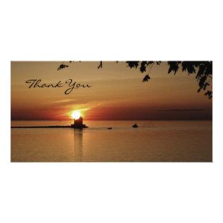 Gracias faro de la puesta del sol tarjetas fotograficas