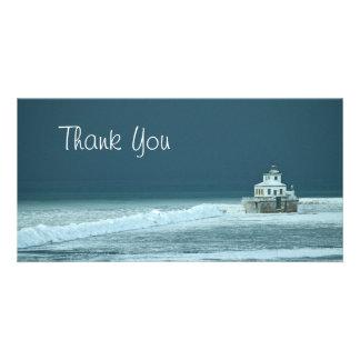 Gracias faro del invierno plantilla para tarjeta de foto