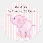 Gracias fiesta de bienvenida al bebé del elefante etiquetas redondas