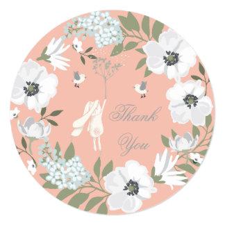 """Gracias fiesta de bienvenida al bebé floral del invitación 5.25"""" x 5.25"""""""