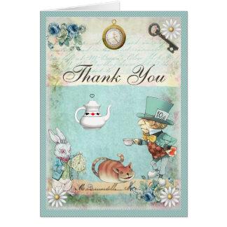 Gracias fiesta del té enojada del país de las tarjeta pequeña