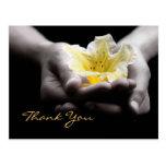 Gracias flor amarilla delicada en manos postal