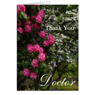 Gracias floral Doctor-Rosado y blanco/el jardín Tarjeta De Felicitación