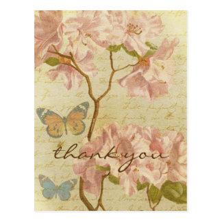 Gracias floral elegante del rododendro rosado del tarjeta postal