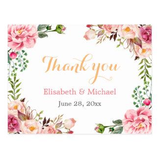 Gracias - floral elegante romántico envuelto postales