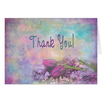 Gracias floral precioso y elegante - tarjeta de felicitación