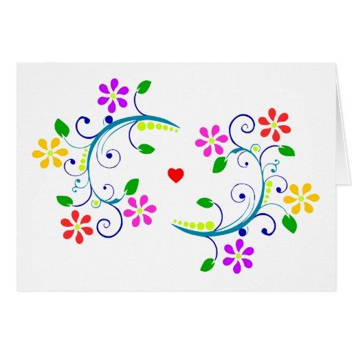 ¡Gracias! Floral, remolinos y corazón Tarjeta Pequeña