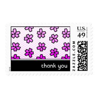 gracias: floral retro: sellos postales