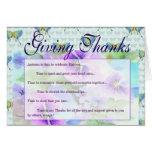 Gracias florales azules y púrpuras tarjetas