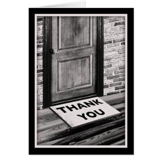 gracias fotografía de la estera de puerta tarjeta pequeña