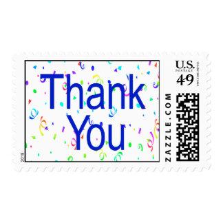 Gracias franqueo con las flámulas timbre postal