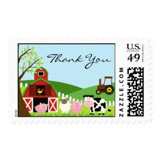 Gracias franqueo del medio de los animales timbre postal