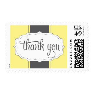 Gracias franqueo en amarillo y gris timbre postal