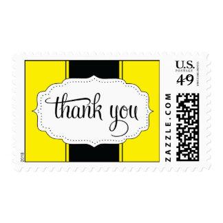 Gracias franqueo en amarillo y negro timbre postal