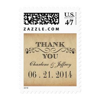 Gracias franqueo rústico del boda del pergamino timbres postales