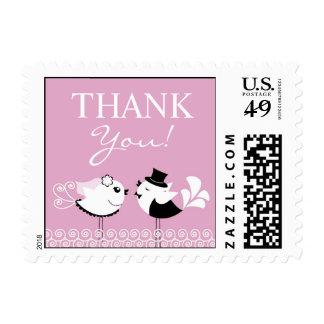 Gracias franqueos de los pájaros del boda los sellos