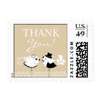Gracias franqueos de los pájaros del boda los timbres postales