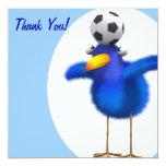 ¡Gracias! Fútbol borroso del Bluebird Invitaciones Personalizada