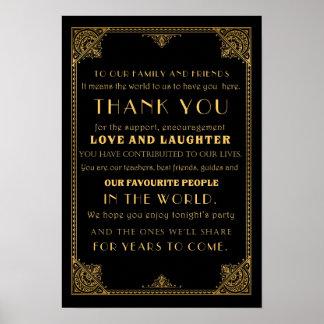 Gracias Gatsby inspirado casando la tarjeta de la Póster