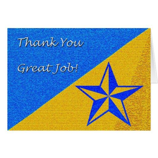 Gracias gran estrella del trabajo tarjeta de felicitación