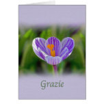 Gracias, Grazie, italiano, floral Tarjeton