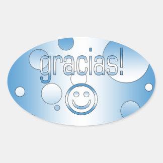 Gracias! Guatemala Flag Colors Pop Art Oval Sticker