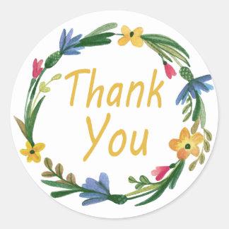 Gracias guirnalda floral de la acuarela pegatina redonda