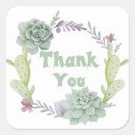 Gracias guirnalda floral verde del Succulent y del Pegatina Cuadrada