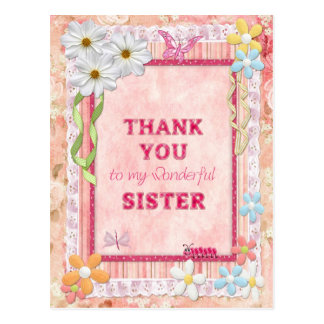Gracias hermana, tarjeta del arte de las flores tarjeta postal