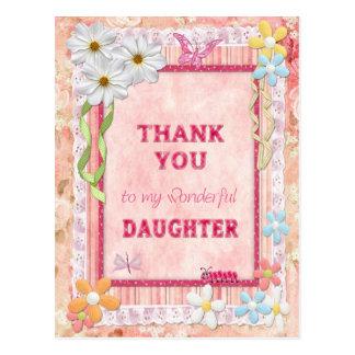 Gracias hija, tarjeta del arte de las flores tarjetas postales